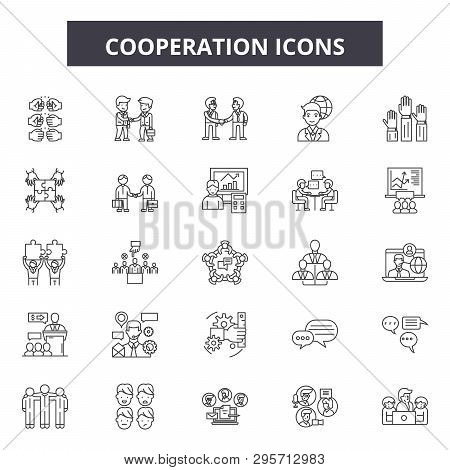Cooperation Line Icons, Signs Set, Vector. Cooperation Outline Concept, Illustration: Cooperation, B