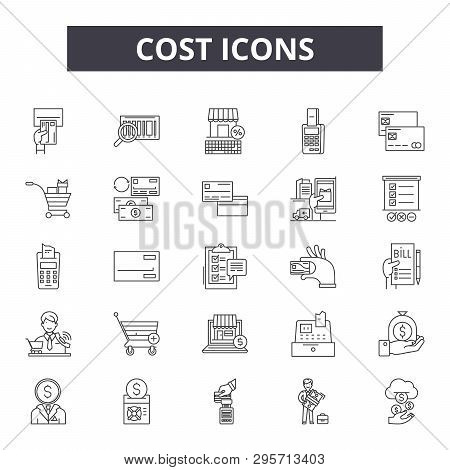Cost 2 Line Icons, Signs Set, Vector. Cost 2 Outline Concept, Illustration: Cost, Business, Money, F