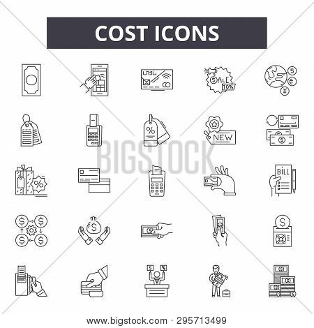 Cost Line Icons, Signs Set, Vector. Cost Outline Concept, Illustration: Money, Cost, Finance, Busine