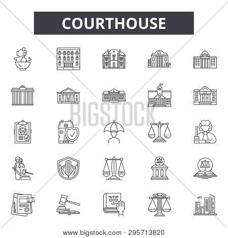 Courthouse Line Icons, Signs Set, Vector. Courthouse Outline Concept, Illustration: Courthouse, Gove