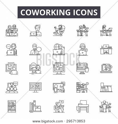 Coworking Line Icons, Signs Set, Vector. Coworking Outline Concept, Illustration: Team, Group, Commu