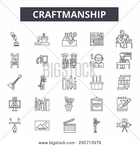 Creaftmanship line icons, signs set, vector. Creaftmanship outline concept, illustration: craftsmanship, craft, equipment, hammer, tool, art poster