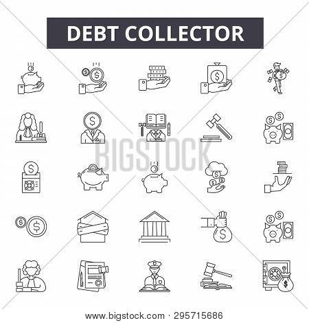Debt collector line icons, signs set, vector. Debt collector outline concept, illustration: debt, money, collector, business, finance, bank, concept, financial poster