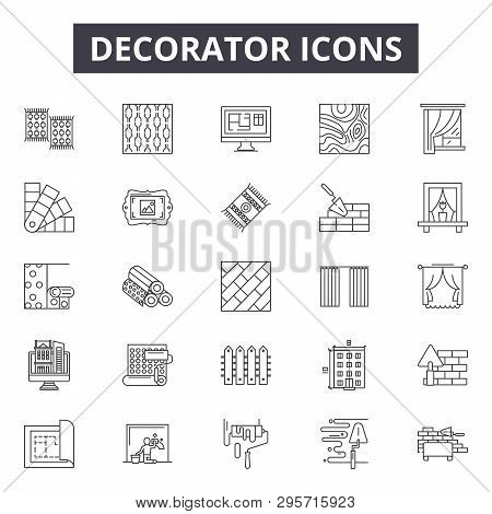 Decorator Line Icons, Signs Set, Vector. Decorator Outline Concept, Illustration: Decorator, Paint,