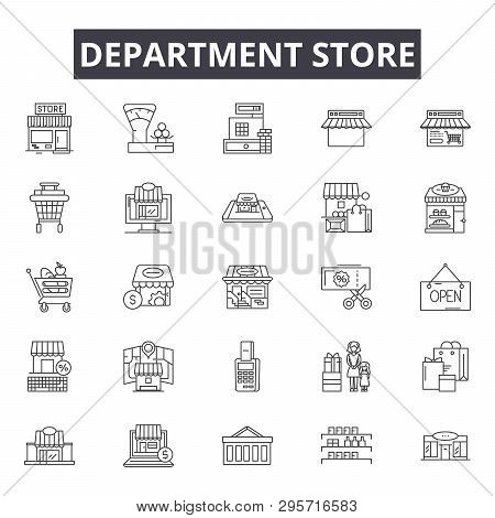 Department Store Line Icons, Signs Set, Vector. Department Store Outline Concept, Illustration: Stor