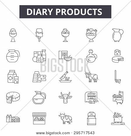 Diary Products Line Icons, Signs Set, Vector. Diary Products Outline Concept, Illustration: Milk, He