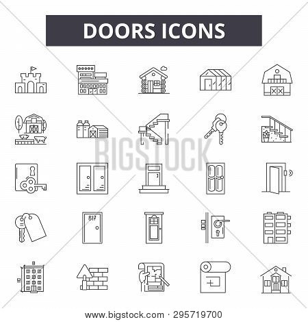 Doors Line Icons, Signs Set, Vector. Doors Outline Concept, Illustration: Door, Open, Home, Room, Do