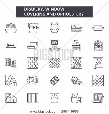 Drapery Window Line Icons, Signs Set, Vector. Drapery Window Outline Concept, Illustration: Window,