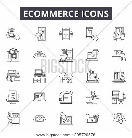 Ecommerce Line Icons, Signs Set, Vector. Ecommerce Outline Concept, Illustration: Ecommerce, Busines