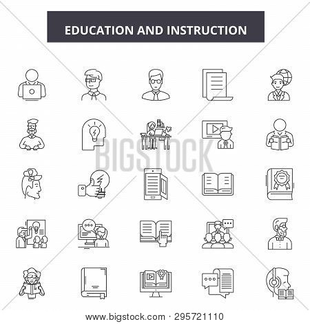 Education And Instructions Line Icons, Signs Set, Vector. Education And Instructions Outline Concept