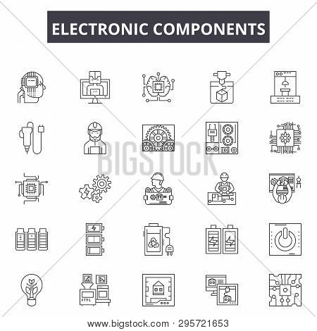 Electronic Components Line Icons, Signs Set, Vector. Electronic Components Outline Concept, Illustra