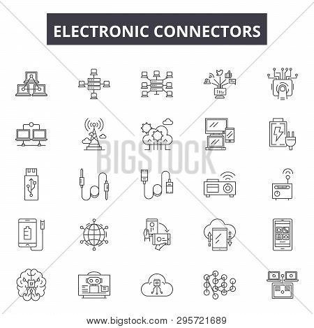 Electronic Connectors Line Icons, Signs Set, Vector. Electronic Connectors Outline Concept, Illustra