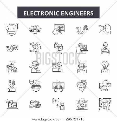 Electronic Engineers Line Icons, Signs Set, Vector. Electronic Engineers Outline Concept, Illustrati