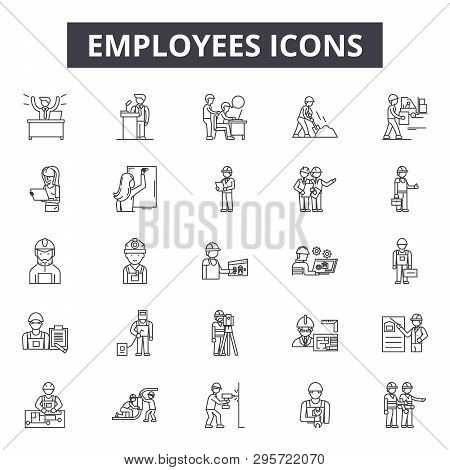 Employees Line Icons, Signs Set, Vector. Employees Outline Concept, Illustration: Employee, Business