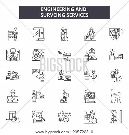 Engineering And Surveing Services Line Icons, Signs Set, Vector. Engineering And Surveing Services O