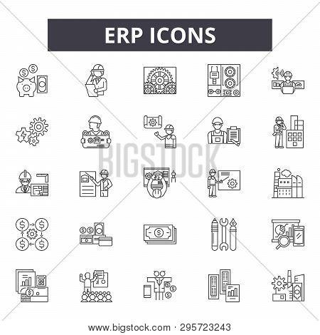 Erp Line Icons, Signs Set, Vector. Erp Outline Concept, Illustration: Business, Erp, Data, Service,