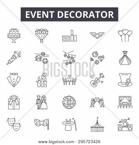 Event Decorator Line Icons, Signs Set, Vector. Event Decorator Outline Concept, Illustration: Debusi