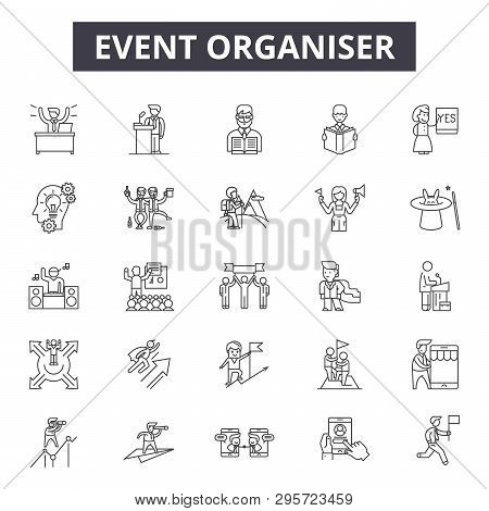 Event Organizer Line Icons, Signs Set, Vector. Event Organizer Outline Concept, Illustration: Event,
