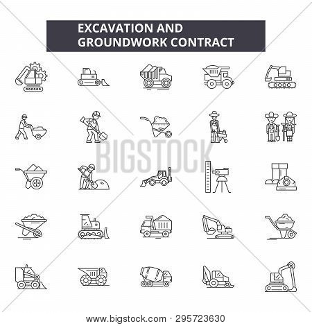 Excavation And Grounwork Line Icons, Signs Set, Vector. Excavation And Grounwork Outline Concept, Il