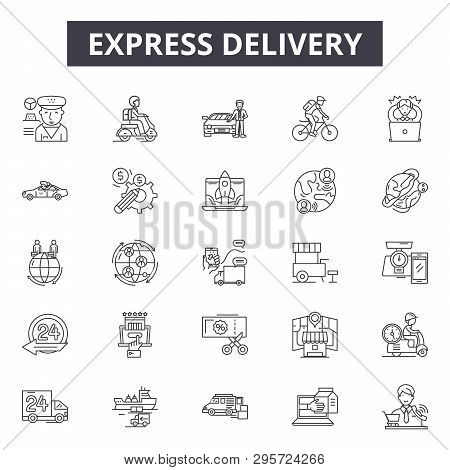 Express Delivery Line Icons, Signs Set, Vector. Express Delivery Outline Concept, Illustration: Deli