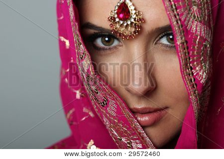 young woman in sari