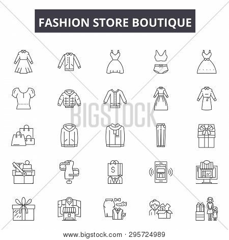 Fashion Store Boutique Line Icons, Signs Set, Vector. Fashion Store Boutique Outline Concept, Illust