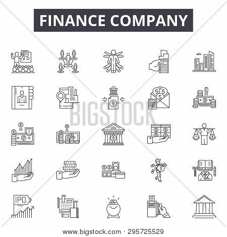 Finance Company Line Icons, Signs Set, Vector. Finance Company Outline Concept, Illustration: Financ