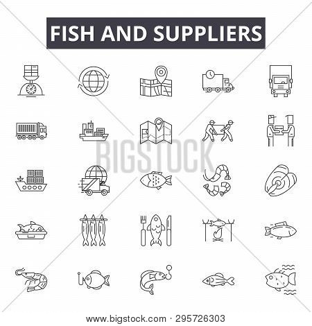 Fish And Suppliers Line Icons, Signs Set, Vector. Fish And Suppliers Outline Concept, Illustration: