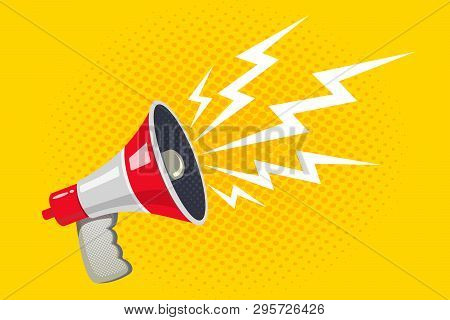 Vector Vintage Poster With Violet Megaphone On Yellow Halftone Background. Vector Retro Megaphone.