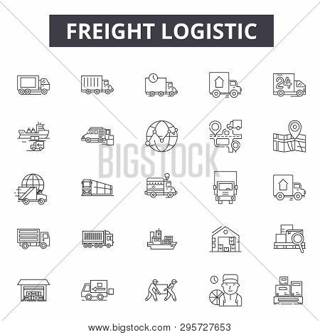 Freight Logistic Line Icons, Signs Set, Vector. Freight Logistic Outline Concept, Illustration: Ship