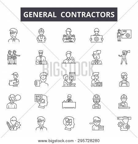 General Contractors Line Icons, Signs Set, Vector. General Contractors Outline Concept, Illustration