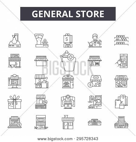 General Store Line Icons, Signs Set, Vector. General Store Outline Concept, Illustration: Store, Sho
