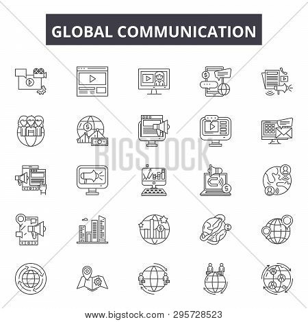 Global Communication Line Icons, Signs Set, Vector. Global Communication Outline Concept, Illustrati