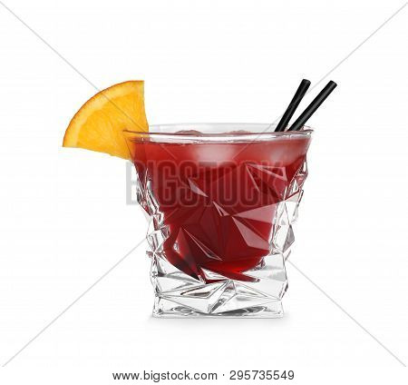 Glass Of Red Cosmo Cocktail On White Background. Traditional Alcoholic Drink