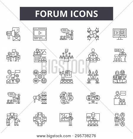 Forum Line Icons, Signs Set, Vector. Forum Outline Concept, Illustration: Forum, Communication, Chat
