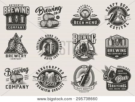 Vintage Brewery Monochrome Emblems With Beer Glass Bottle Cans Wooden Barrels Brewing Machine Hop Co