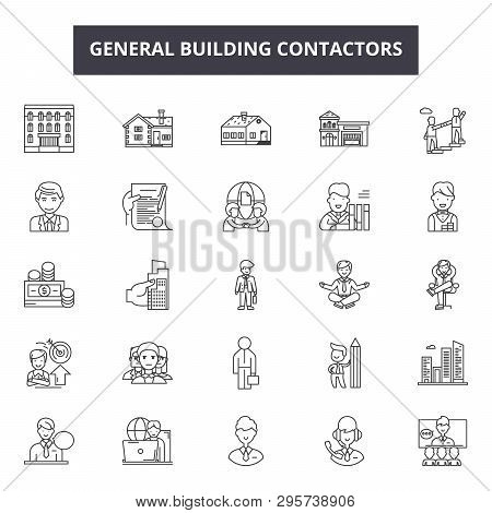 General Building Contractors Line Icons, Signs Set, Vector. General Building Contractors Outline Con