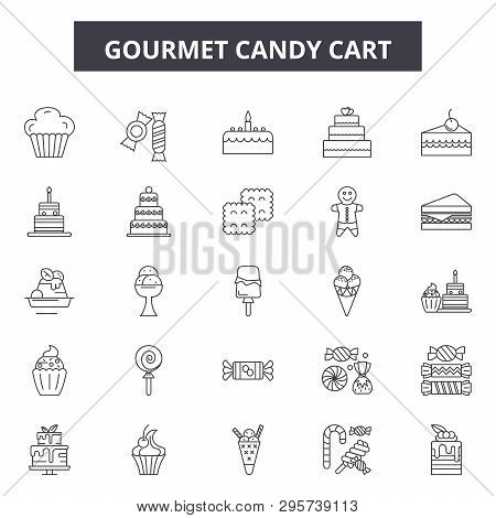 Gourmet Candy Cart Line Icons, Signs Set, Vector. Gourmet Candy Cart Outline Concept, Illustration: