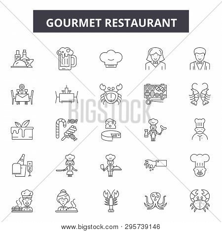 Gourmet Restaurant Line Icons, Signs Set, Vector. Gourmet Restaurant Outline Concept, Illustration: