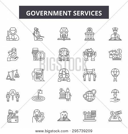 Government Services Line Icons, Signs Set, Vector. Government Services Outline Concept, Illustration