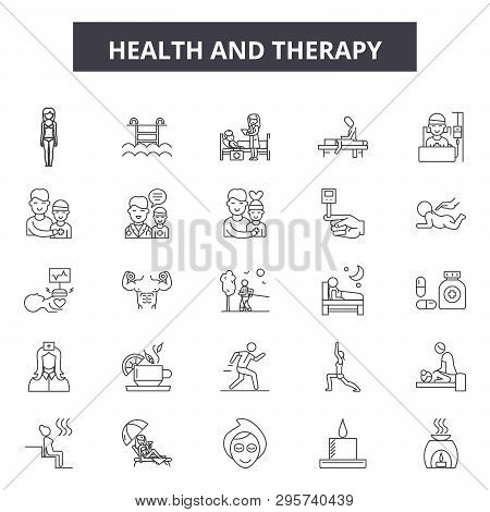 Health And Therapy Line Icons, Signs Set, Vector. Health And Therapy Outline Concept, Illustration: