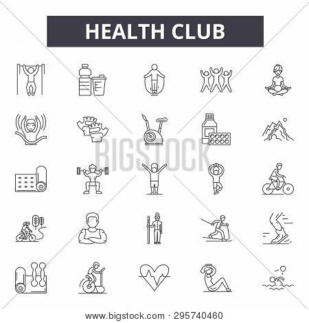 Health Club Line Icons, Signs Set, Vector. Health Club Outline Concept, Illustration: Health, Club,