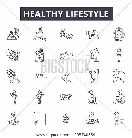 Healthy Lifestyle Line Icons, Signs Set, Vector. Healthy Lifestyle Outline Concept, Illustration: Fi