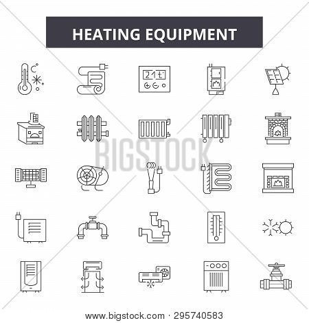 Heating Equipment Line Icons, Signs Set, Vector. Heating Equipment Outline Concept, Illustration: Eq