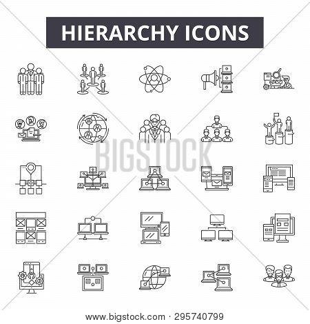 Hierarchy Line Icons, Signs Set, Vector. Hierarchy Outline Concept, Illustration: Hierarchy, Busines