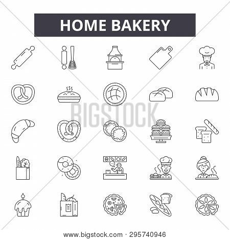 Home Bakery Line Icons, Signs Set, Vector. Home Bakery Outline Concept, Illustration: Food, Bakery,