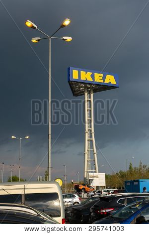 Bucharest, Romania - April 16, 2019: Vertical Post With The Ikea Sign On The Theodor Pallady Street,