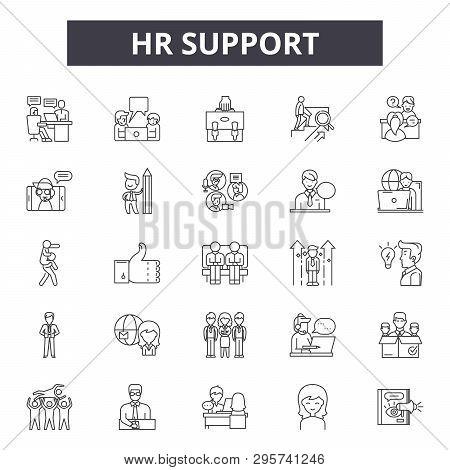 Hr Support Line Icons, Signs Set, Vector. Hr Support Outline Concept, Illustration: Support, Hr, Bus