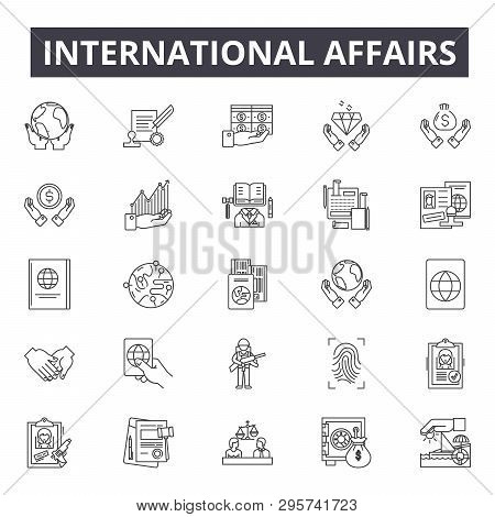 International Affairs Line Icons, Signs Set, Vector. International Affairs Outline Concept, Illustra