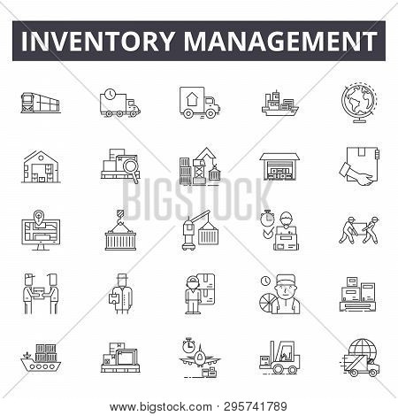 Inventory Management Line Icons, Signs Set, Vector. Inventory Management Outline Concept, Illustrati